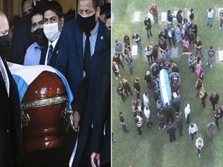 دیگو مارادونا به خاک سپرده شد + عکس