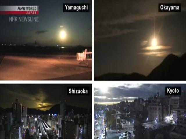 انفجار شی نورانی در آسمان ژاپن، تیتر یک تمام رسانه های این کشور