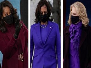 علت انتخاب طیف رنگ بنفش بر تن زنان سیاستمدار در مراسم تحلیف جو بایدن + عکس