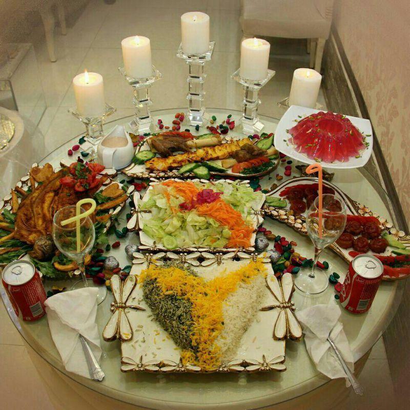 میز شام عروس و داماد