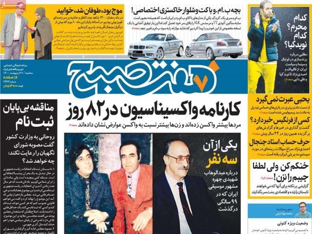 تیتر روزنامه های 21 اردیبهشت 1400
