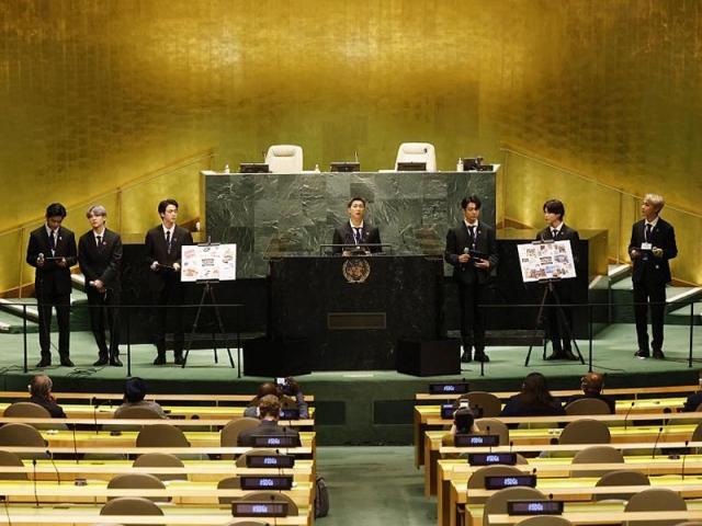 سخنرانی اعضای گروه بیتیاس در سازمان ملل درباره تغییرات آب و هوایی + عکس