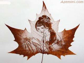 نقاشی بر برگ درختان