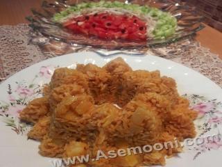 استانبولی پلو با سالاد شیرازی هندوانه ای