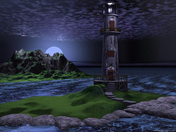 Cool-Fantasy-3D-Lighthouse-Wallpaper