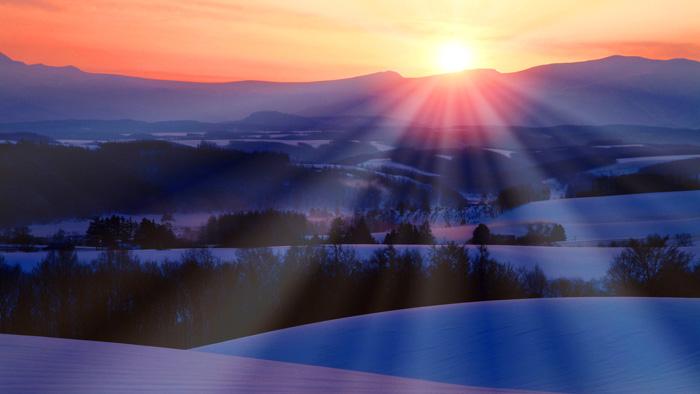 Snowy land in the morning, Kamifurano city, Hokkaido prefecture, Japan