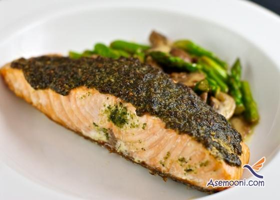 Salmon with pesto sauce