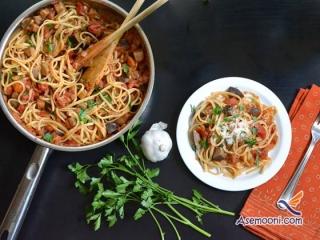 طرز تهیه اسپاگتی با سس بادمجان