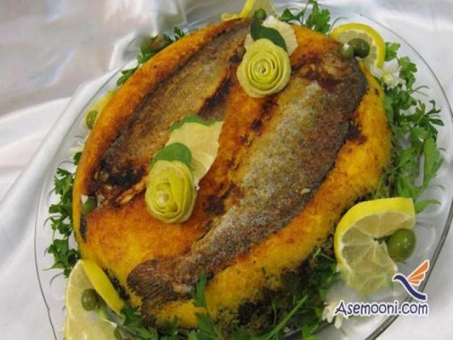 ته چین ماهی غذای مجلسی