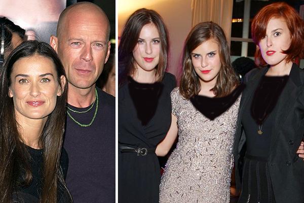 دمی مور و همسر دومش بروس ویلیس و سه دخترشان
