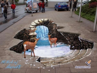 عکس هایی از نقاشی های سه بعدی در کف خیابان