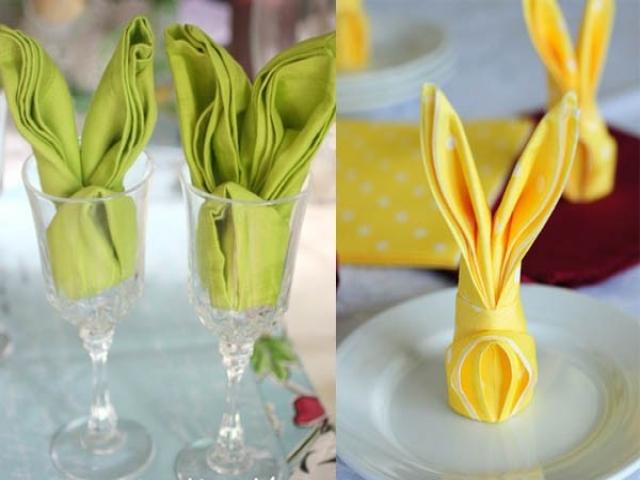 تزیین ساده دستمال سفره به شکل خرگوش
