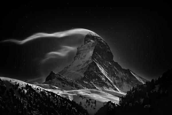 The Matterhorn 4478 m at full moon.