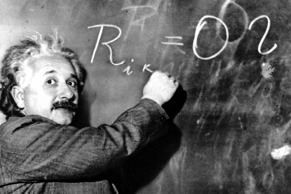 JAN 14, 1931 FILE PHOTO @*@* FILE @*@* Dr. Albert Einstein writes out an equation for the density of the Milky Way on the blackboard at the Carnegie Institute, Mt. Wilson Observatory headquarters in Pasadena, Calif., in this Jan. 14, 1931 file photo. On Wednesday, Jan 19, 2005 German Chancellor Gerhard Schroeder will open the German Einstein year 2005, remembering the 100th birthday of Einstein's Special Theory of Relativity which proposed the existence of atomic energy. Einstein, who radically changed mankind's vision of the universe, was awarded the Nobel Prize for Physics in 1921. (AP Photo)