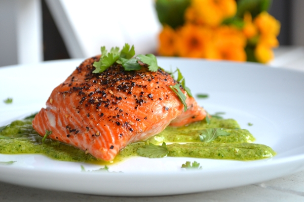 Delicious fish salmon with dill sauce