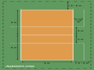 ابعاد زمین والیبال