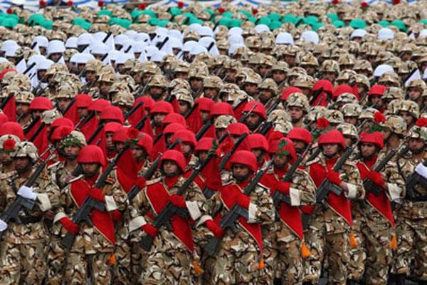 Islamic Republic of Iran army parade in a court adjacent to Hazrat Imam Khomeini (RA) began