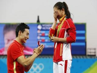 خواستگاری ورزشکار چینی روی سکوی المپیک