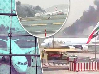هواپیمای شرکت امارات هنگام فرود در فرودگاه دبی سقوط کرد