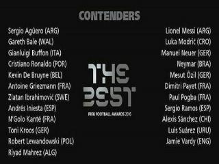 نامزدهای بهترین بازیکن سال از سوی فیفا اعلام شد