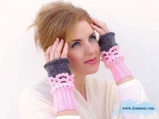 عکس از شال، کلاه و دستکش زنانه