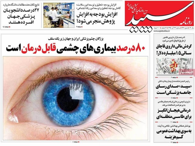 تیتر روزنامه های 23 آذر 1395