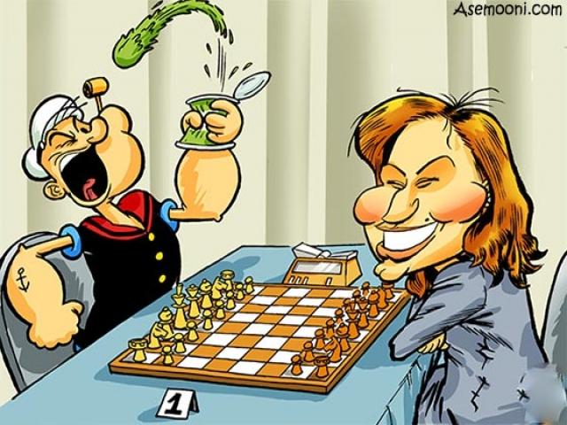 کاریکاتور طنز کیش و مات و شطرنج