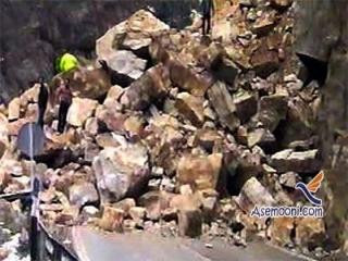 ریزش کوه در پی زلزله استان فارس