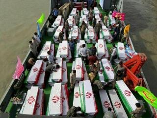 ورود پیکر 130 شهید دوران دفاع مقدس به میهن اسلامی