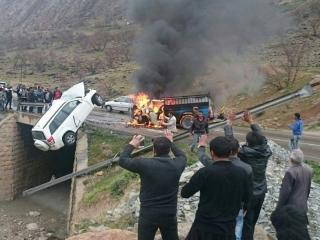 4 زن و مرد در بزرگراه قزوین - زنجان زندهزنده سوختند