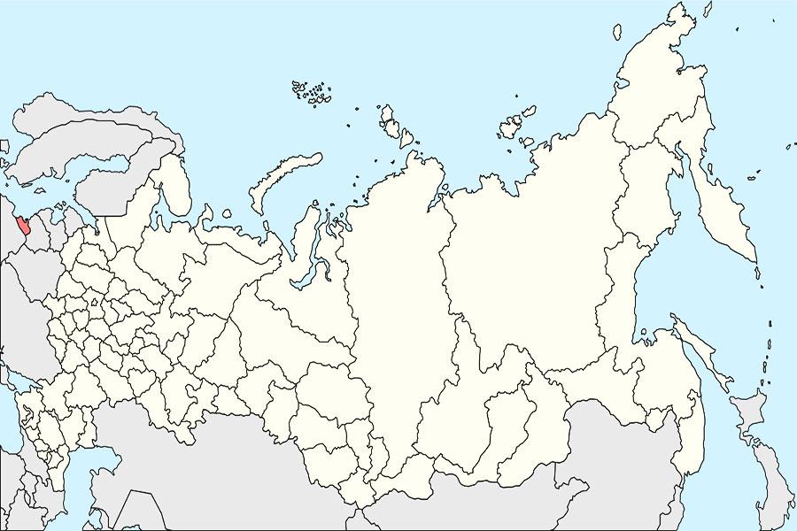 کالینینگراد:منطقه ی نارنجی در نقشه خارج از مرز های روسیه