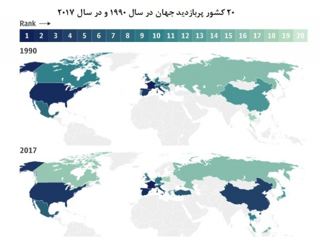 نقشه گردشگری جهان در 28 سال اخیر/ ایران در رتبه 7 جهانی