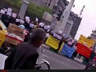 تجمع کارگران و بازنشستگان مقابل مجلس