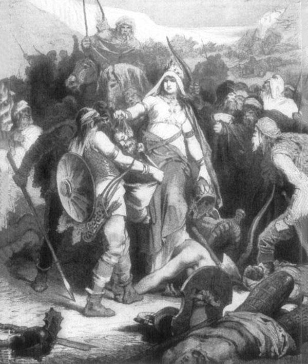این نگاره، اثر الکساندر زیک، بردن سر کوروش نزد تهمرییش را به تصویر کشیده است - آسمونی