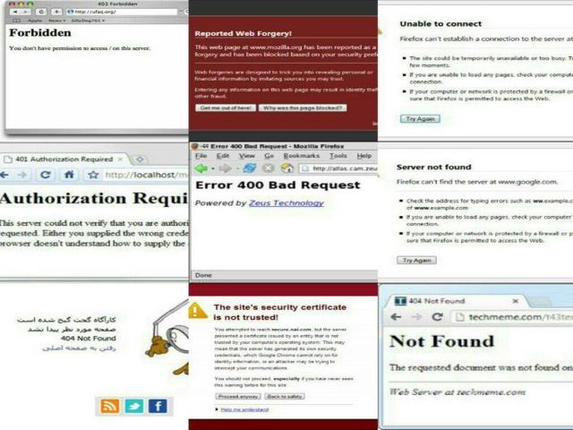 انواع خطاهای اینترنتی زمان نمایش وبسایت ها در مرورگر