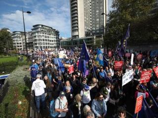 تظاهرات مخالفان خروج بریتانیا از اتحادیه اروپا در لندن