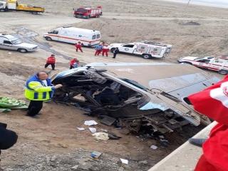 واژگونی اتوبوس در اتوبان قم-تهران 8 کشته و 36 مصدوم برجای گذاشت