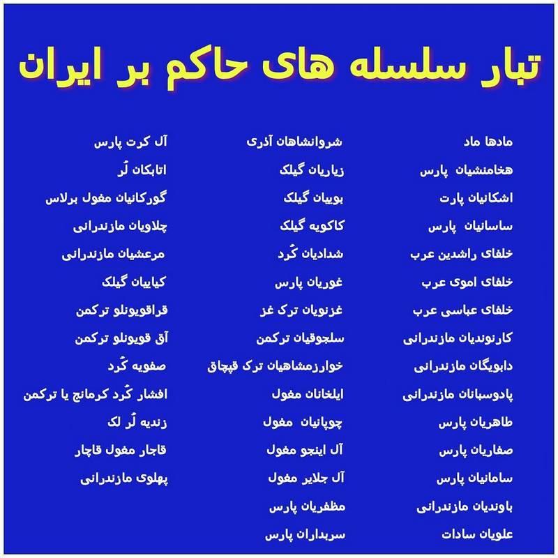 سلسله های ایرانی از ابتدا تا کنون