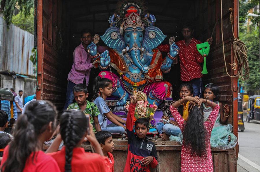 جشنواره آیینی گانش چاتورتی در بمبئی هند