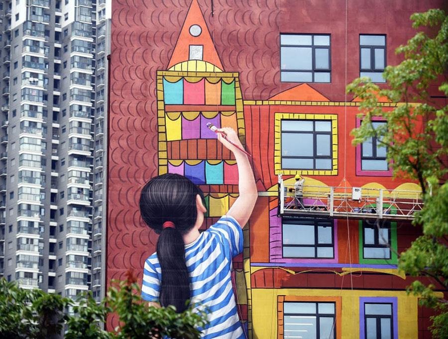 نقاشی دیواری در نانجینگ چین
