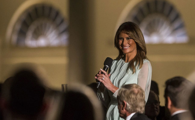 سخنرانی ملانیا ترامپ بانوی اول آمریکا در مراسم شام رسمی به افتخار میزبانی نخست وزیر استرالیا و همسرش در کاخ سفید