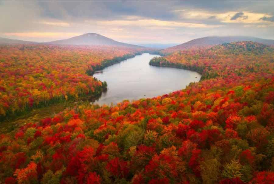منظره پاییزی ورمانت در آمریکا
