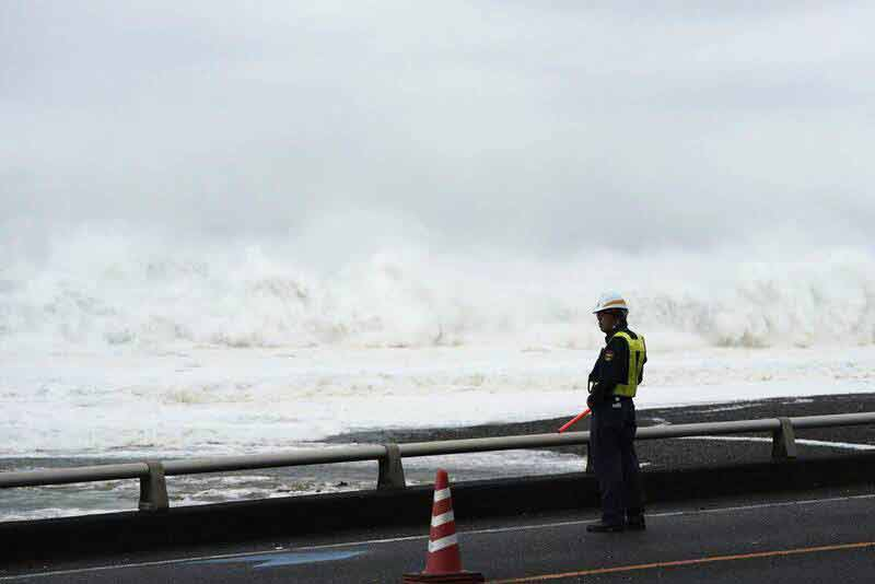 بارش شدید باران همزمان با نزدیک شدن طوفان هاگیبیس به ژاپن