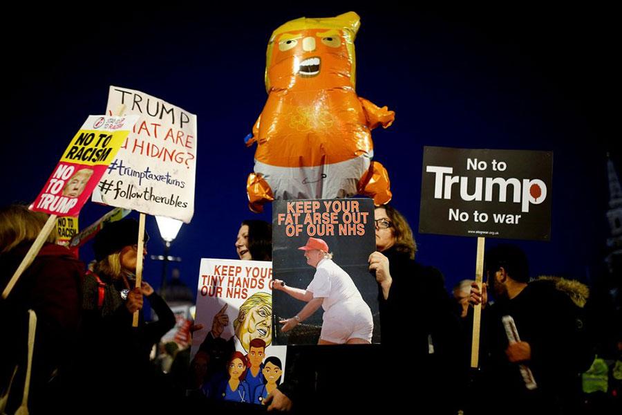 تظاهرات بر ضد ترامپ در حاشیه نشست سران ناتو در لندن