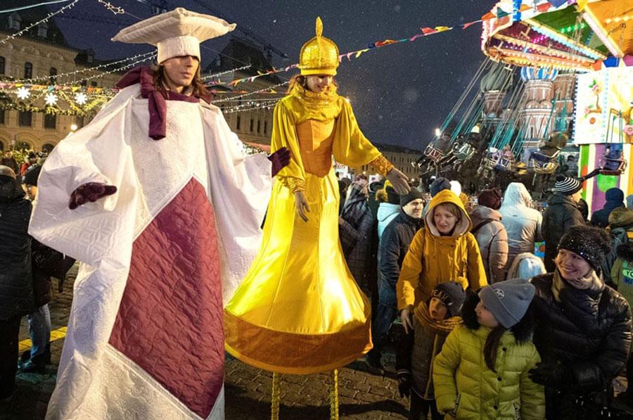 جشنهای شبانه پایان سال در میدان سرخ مسکو