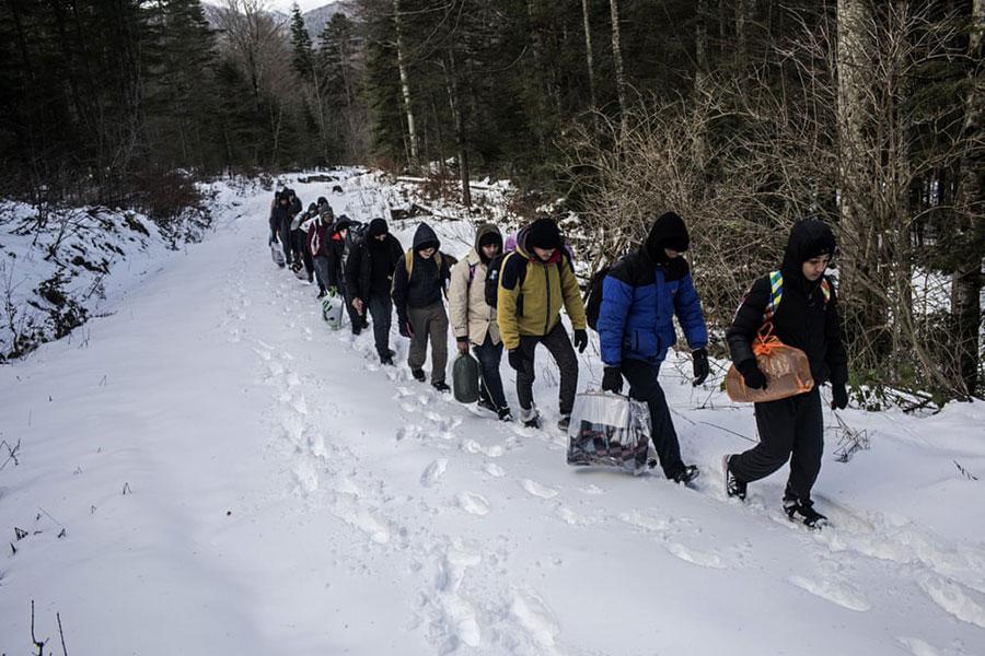 یک گروه از پناهجویان مصری در حال عبور از منطقه مرزی بوسنی و ورود به خاک کرواسی
