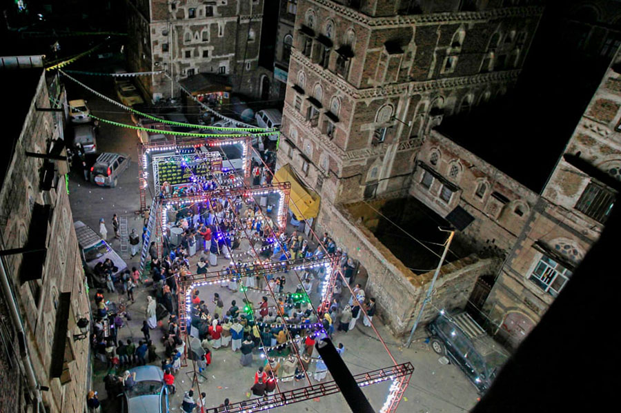 مراسم عروسی در محله قدیمی شهر صنعا (پایتخت) یمن