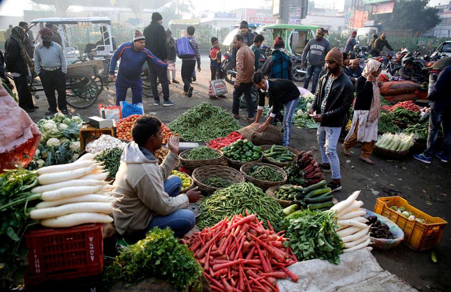 بازار سبزیجات شهر لکهنو در شمال هند