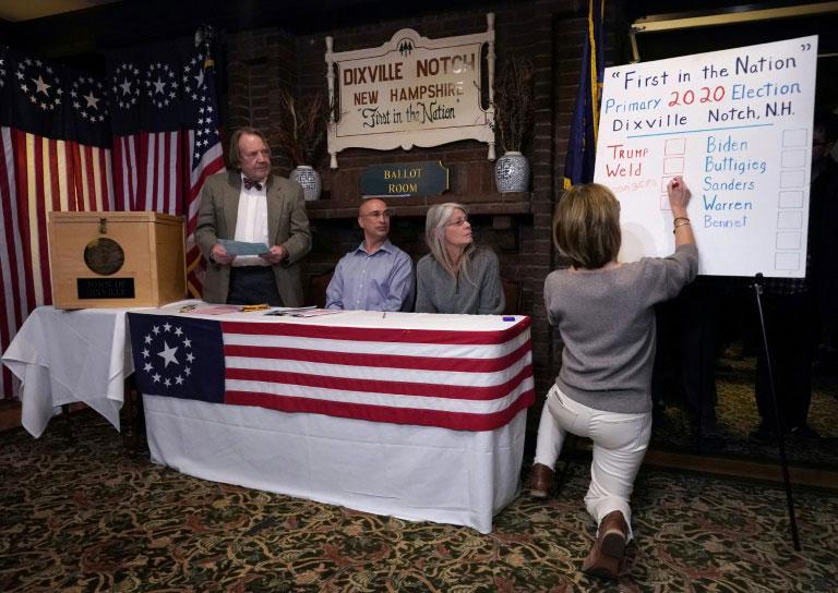 شمارش آرای انتخابات مقدماتی نامزدهای حزب دموکرات در ایالت نیوهمپشایر آمریکا