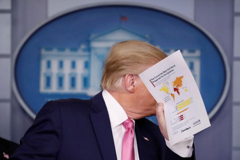 نشست خبری ترامپ درباره تمهیدات دولت ایالات متحده آمریکا برای مقابله با ویروس کرونا در کاخ سفید